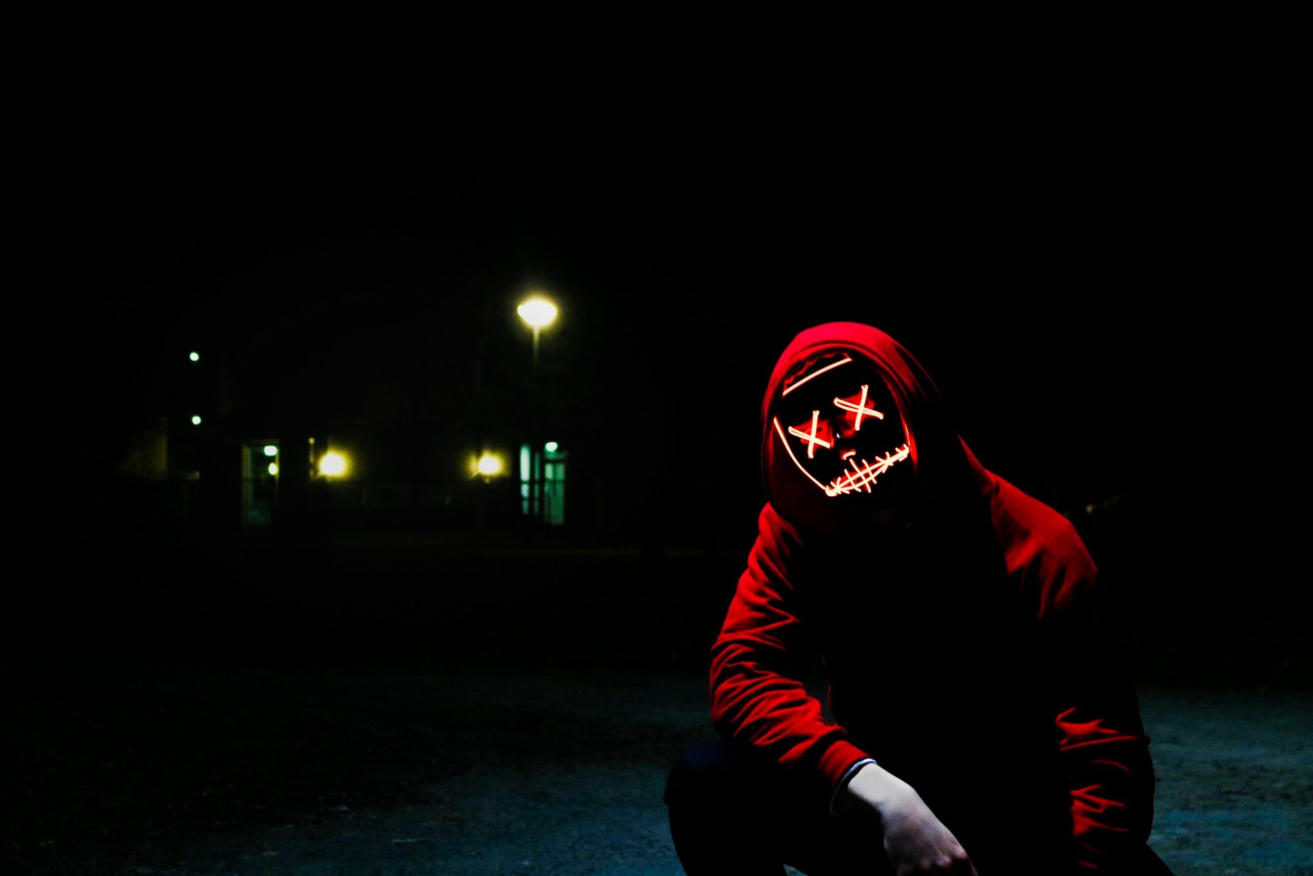 Dark Man With KLightning FaceMask: Redish Hacker